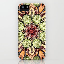 abstract red star hand drawn and kaleidoscope mandala iPhone Case