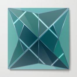Mosaic tiled glass with black rays Metal Print