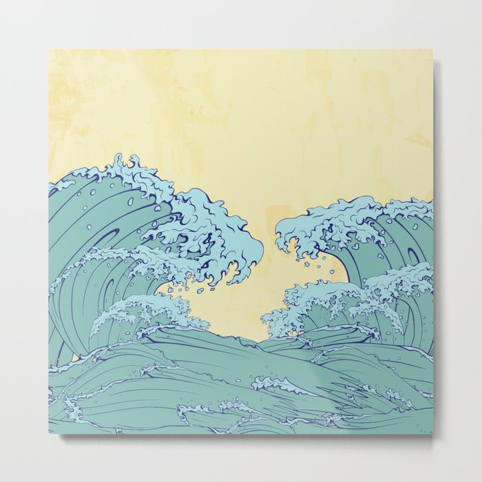 Waves in Japanese style Metal Print