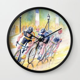 Colorful Bike Race Art Wall Clock