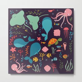 Sea creatures 001 Metal Print