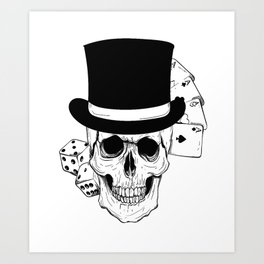 Skull and Dice, skull art, custom gift design Art Print