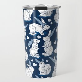 Geometric Easter bunnies // midnight blue background white rabbits with slate blue ears blue lines and blue ice hearts Travel Mug