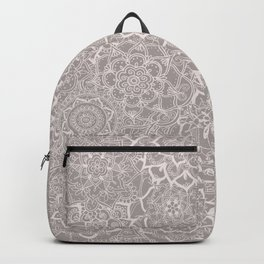 Delicate Lace Mandala Pattern (Grey/Cream) Backpack