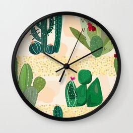 Luminous Sands in the Desert. Succulent and Cactus Wall Clock
