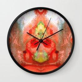 Om - Red Meditation - Abstract Art By Sharon Cummings Wall Clock