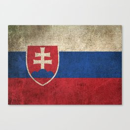 Old and Worn Distressed Vintage Flag of Slovakia Canvas Print