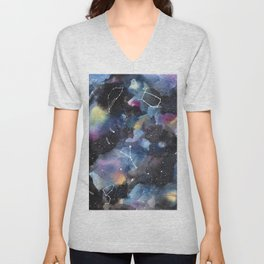 Galaxy sky in watercolors with star constellations Unisex V-Neck