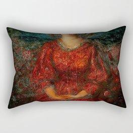 Romance, A Portrait of a Woman in a Red Dress by Thomas Edwin Mostyn Rectangular Pillow