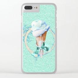 Blue Sugar Icecream Cone Clear iPhone Case