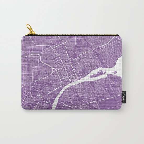Detroit map lilac Carry-All Pouch