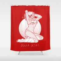 predator Shower Curtains featuring Sexual Predator by Tom Burns