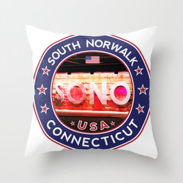 South Norwalk, Connecticut, SoNo Norwalk sticker, t shirt, poster Throw Pillow