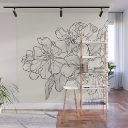 Flowering Tree Ink Illustration Wall Mural