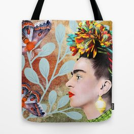 Frida Khalo portarait with butterflies Tote Bag