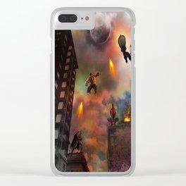 Super Hero Showdown Clear iPhone Case