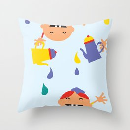 Kids pouring happiness Throw Pillow