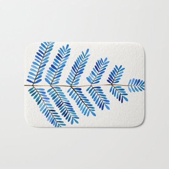 Blue Leaflets Bath Mat