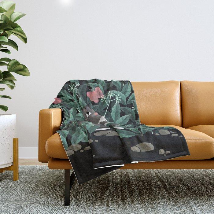 Butterfly Garden (Tabby Cat Version) Throw Blanket