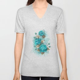Bouquet of Turquoise Roses Unisex V-Neck