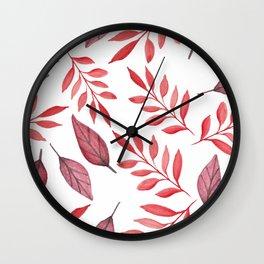 Autumn Watercolor Fall Leaves Wall Clock