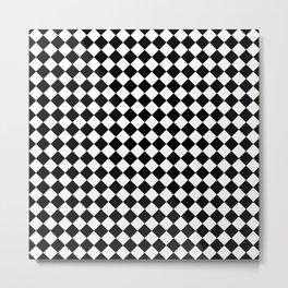 VERY SMALL BLACK AND WHITE HARLEQUIN DIAMOND PATTERN Metal Print