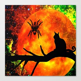 CAT SPIDER AND HARVEST MOON Canvas Print