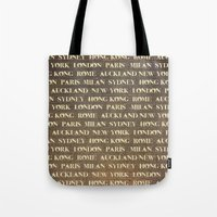 cities Tote Bags featuring Cities by Linde Townsend