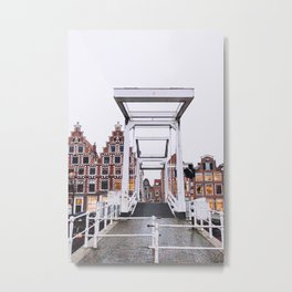 Iconic bridge and canal houses alongside Spaarne river in winter | Haarlem historical city, the Netherlands | Urban travel photography Metal Print