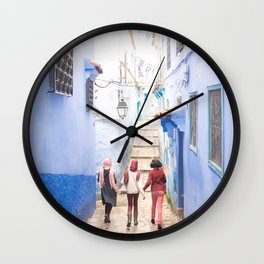 Sunny days Ahead - Chefchaouen, Morocco - The Blue City Wall Clock