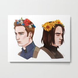 CATWS Steve and Bucky Floral Crowns Metal Print