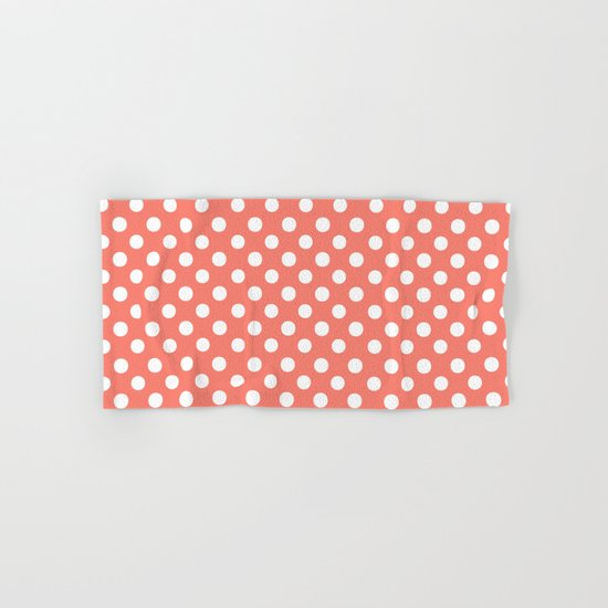 Polka Dots (White/Salmon) Hand & Bath Towel