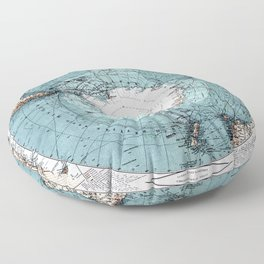 Antarctica Map Floor Pillow