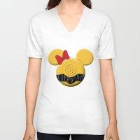 c3po V-neck T-shirts featuring C3PO Mouse  by Miranda Copeland