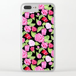 Watercolor Rose Garden black Clear iPhone Case