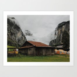 Camping Grounds of Lauterbrunnen, Switzerland Art Print