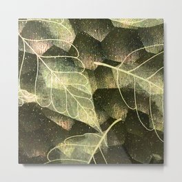 Transparent Abstract Leaves in Magical Green Hues Metal Print