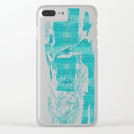 Blue Glass Diamonds Clear iPhone Case