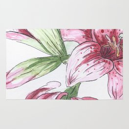 Lilium watercolor Rug
