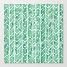 Caribbean green watercolor pattern Canvas Print