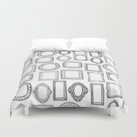 frames Duvet Covers featuring picture frames mono by Sharon Turner
