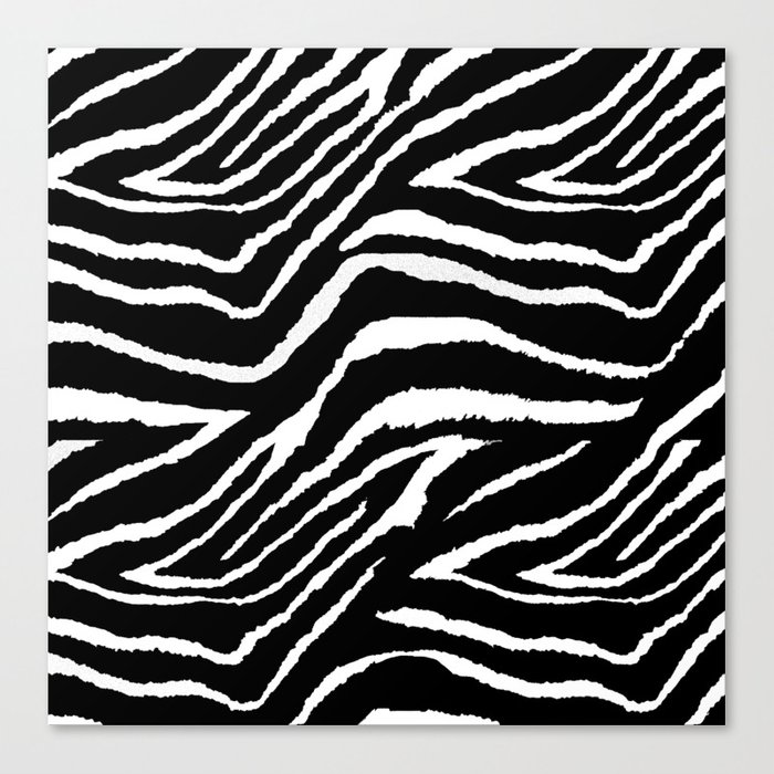 Animal Print Zebra Black and White Leinwanddruck