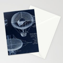 Antique Blueprint French Balloon Airship, Steampunk Stationery Cards