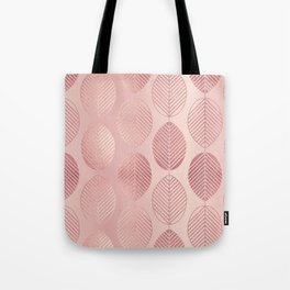 Rose Gold Leaf Pattern Tote Bag