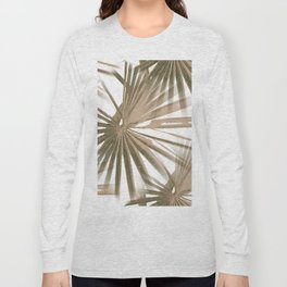 Brown on White Tropical Vibes Beach Palmtree Vector Long Sleeve T-shirt
