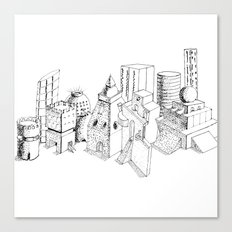 cubes and balls in the city Canvas Print