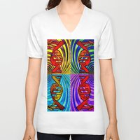 dna V-neck T-shirts featuring DNA #3 by Art By Carob
