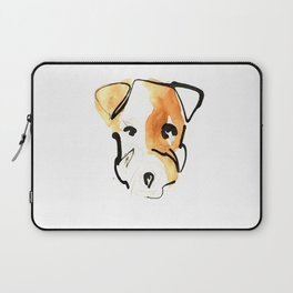 Black Ink and Watercolor Jack Russell Terrier Dog Laptop Sleeve