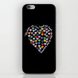 Hearts Heart Teacher Black iPhone Skin