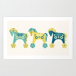 Swedish Toy Horses Art Print